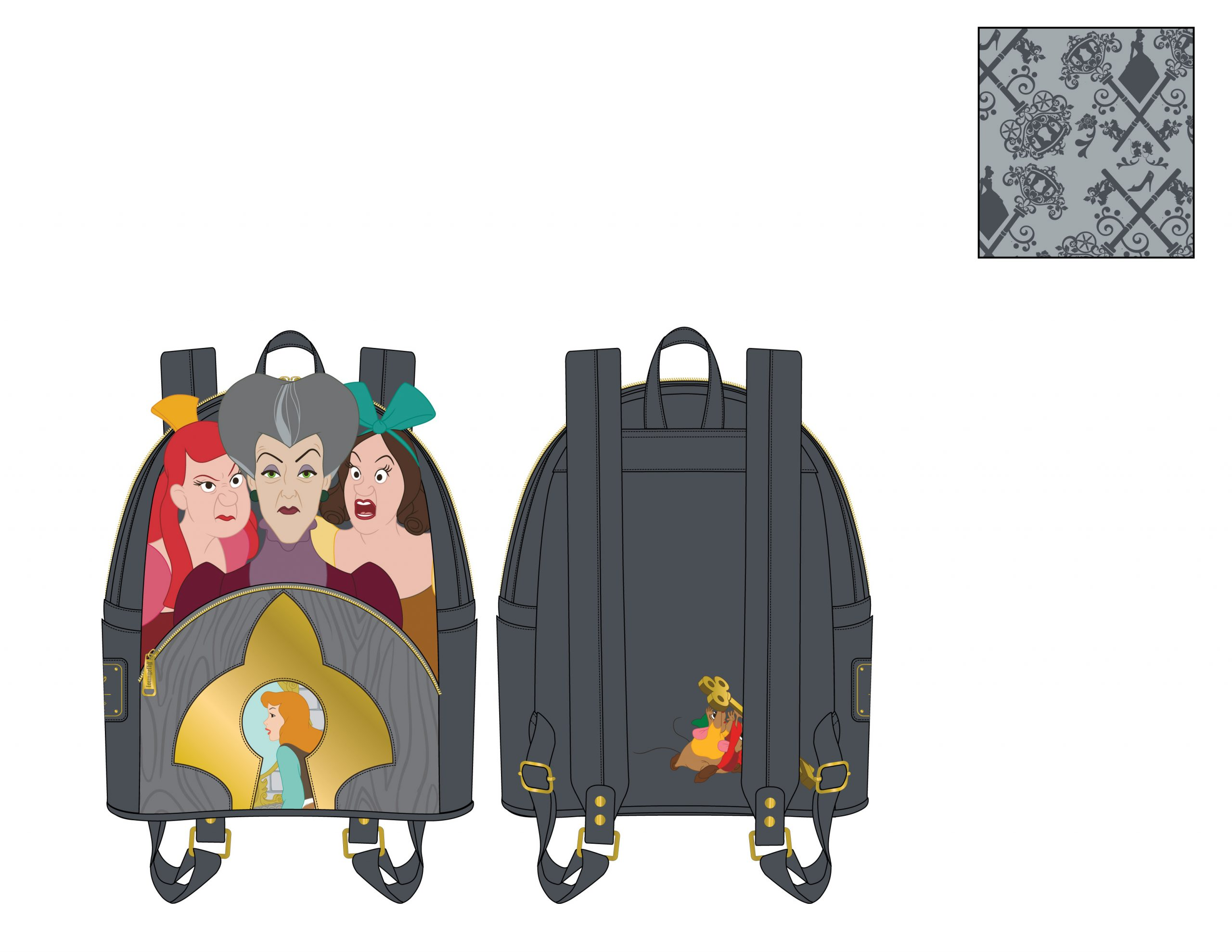 LOUNGEFLY DISNEY VILLAINS SCENE EVIL STEPMOTHER AND STEP SISTERS MINI BACKPACK / RUGZAK