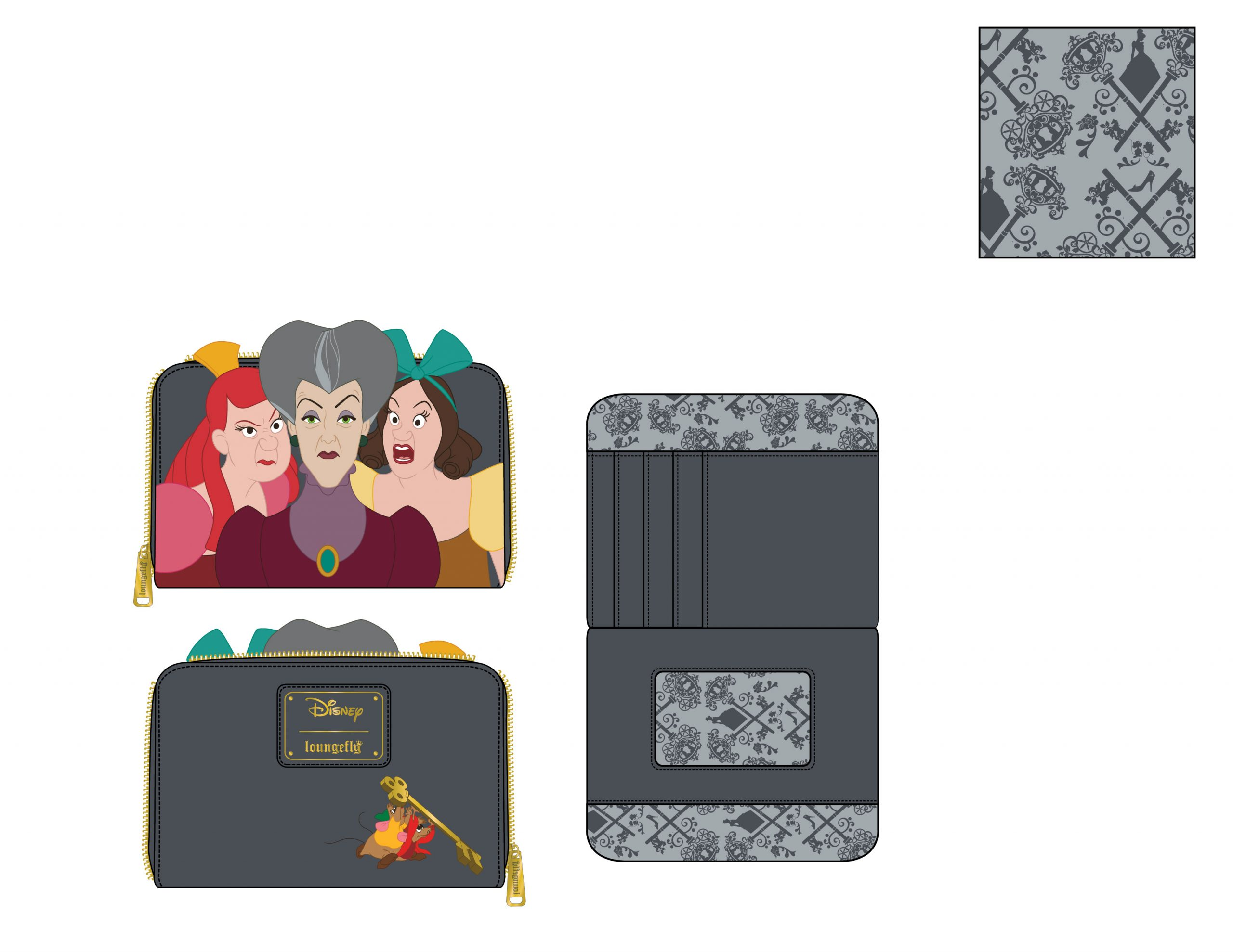 LOUNGEFLY DISNEY VILLAINS SCENE EVIL STEPMOTHER AND STEP SISTERS ZIP AROUND WALLET / PORTEMONNEE